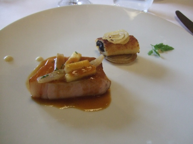 Tender pork, luscious sauce, black pudding.
