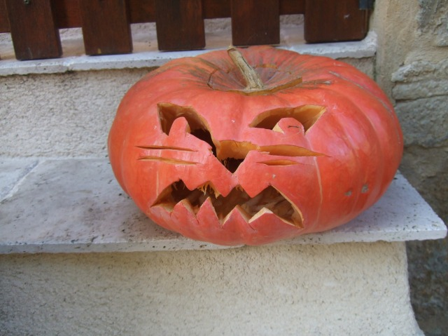 Our carved pumpkin was placed right on the front steps.