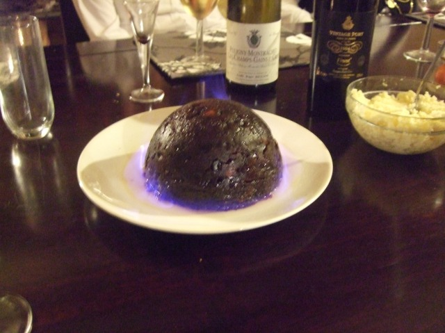 Our flaming Christmas pudding.