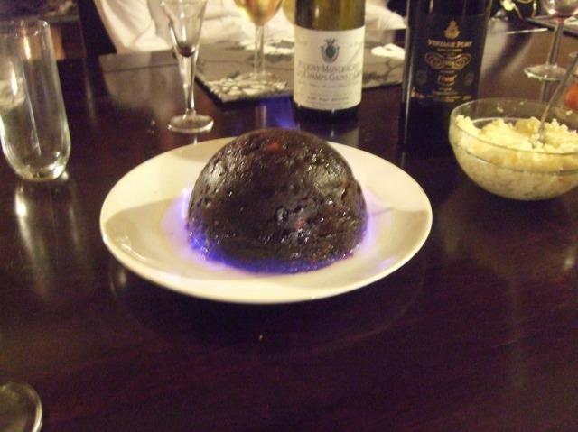 Our flaming Christmas pudding.