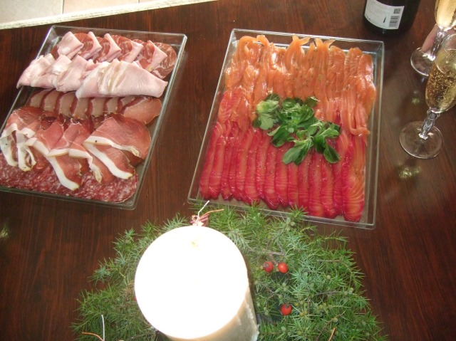 Our charcuterie selection and tray of gravlax.