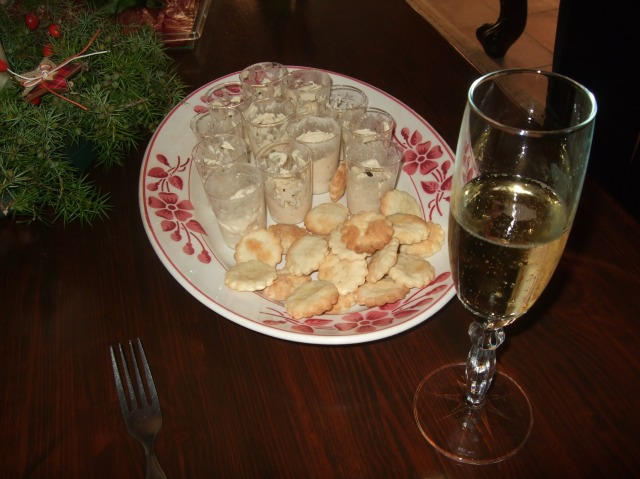Cups of creamy treats, served with a glass of Champagne.