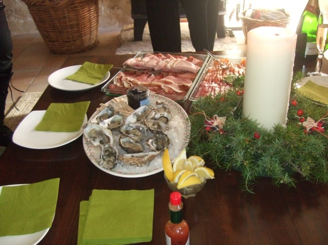 Oysters on the appetizer table.