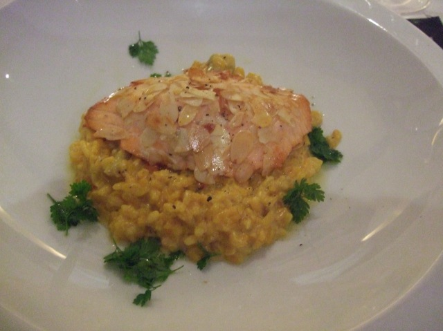 Salmon and risotto: Tasty and rich.