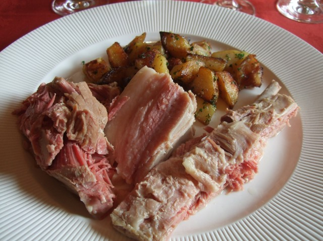 A seriously hearty plate of pork and potatoes.