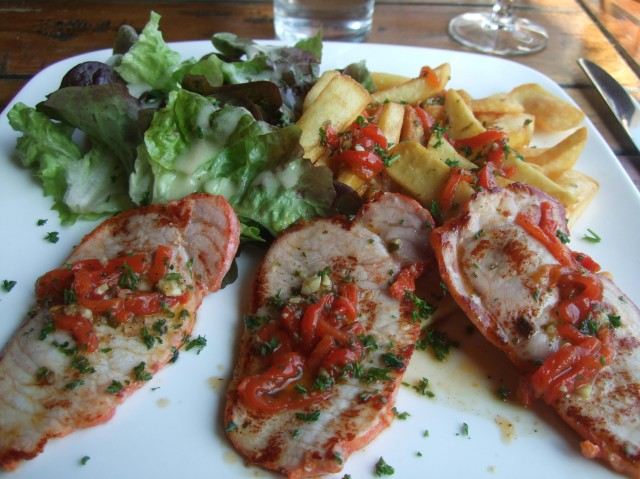 Pork loin and frites, with salad.