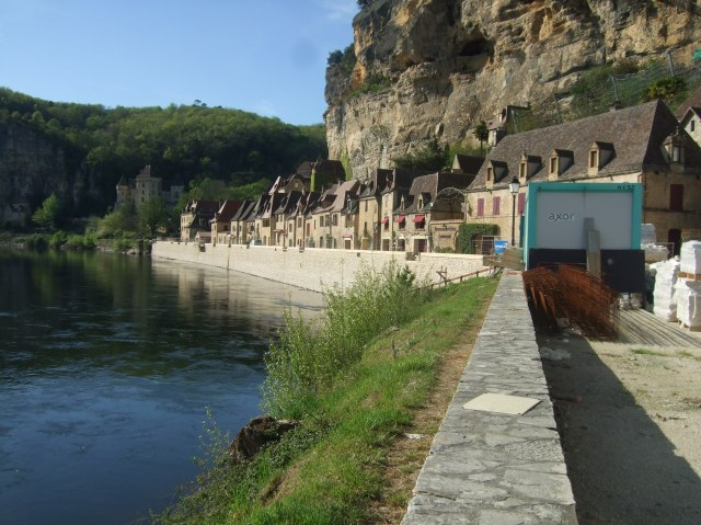 This is the view of La Roque from the river now -- with a new wall in place.