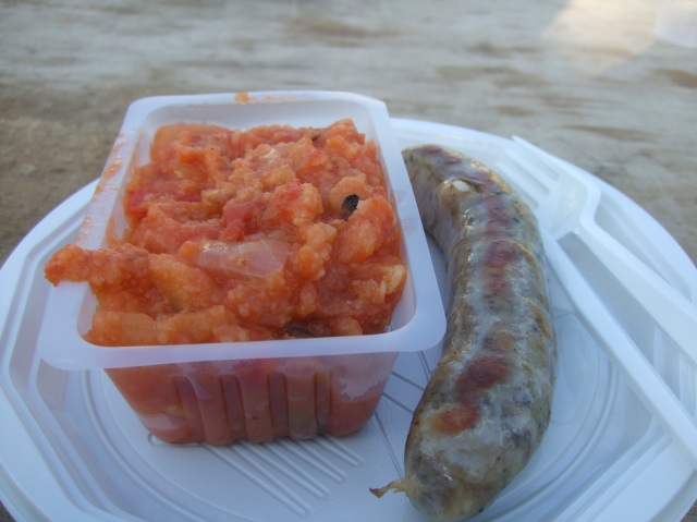 """My dish of """"piperade"""" and truffle-flavoured duck sausage."""