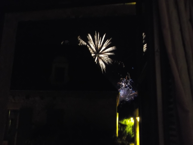 A burst of fireworks, seen over the house of a neighbour.