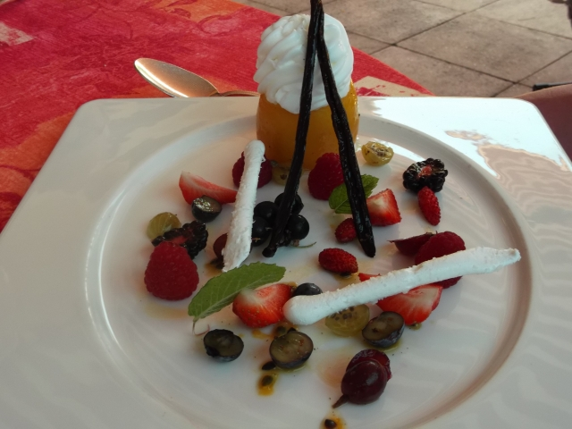Lemon sorbet and red fruits were the stars of the main dessert.
