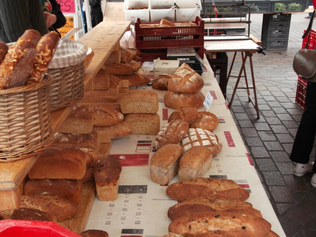 Breads on offer at a stall in the Toulouse market.
