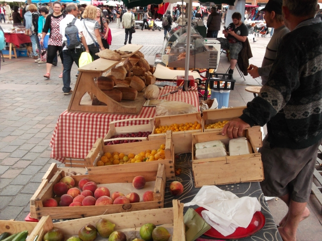 Fruits and vegetables on offer in the market.