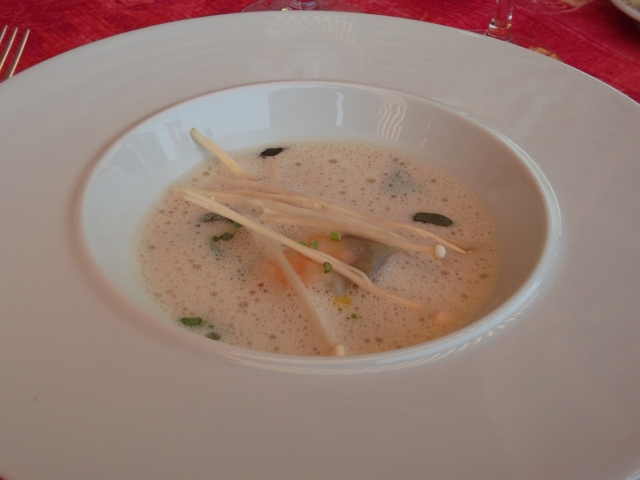 Delicious parcels of langoustines floated in this soup.