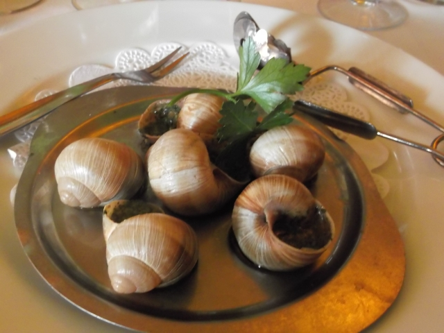 Six large snails for each of us, to begin.