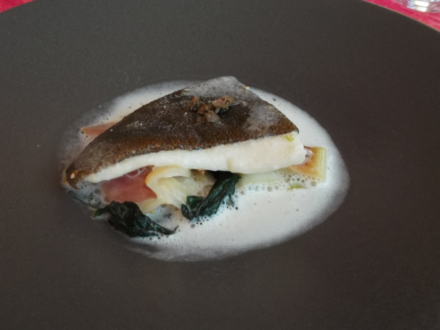 My serving of perfectly cooked turbot.