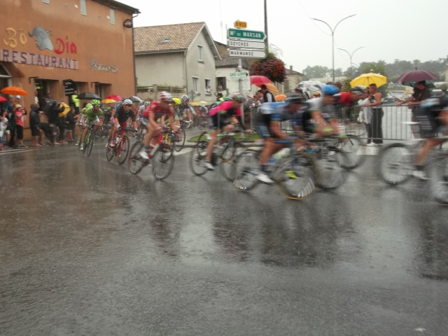 More riders in the pouring rain.