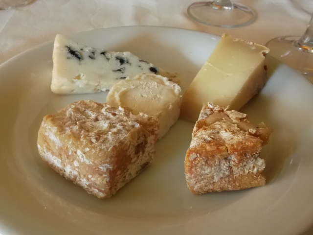 My serving of five different French cheeses.