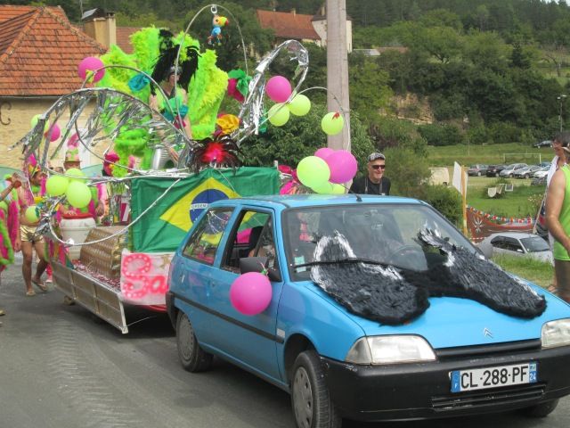 The Brazilian carnival float enters the parade.