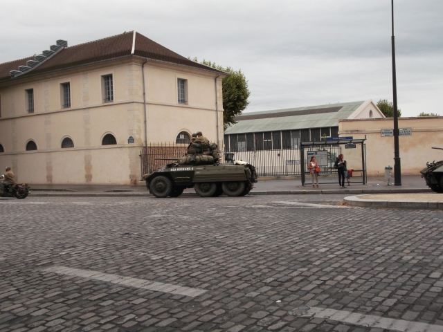 A tank leaves the military school.