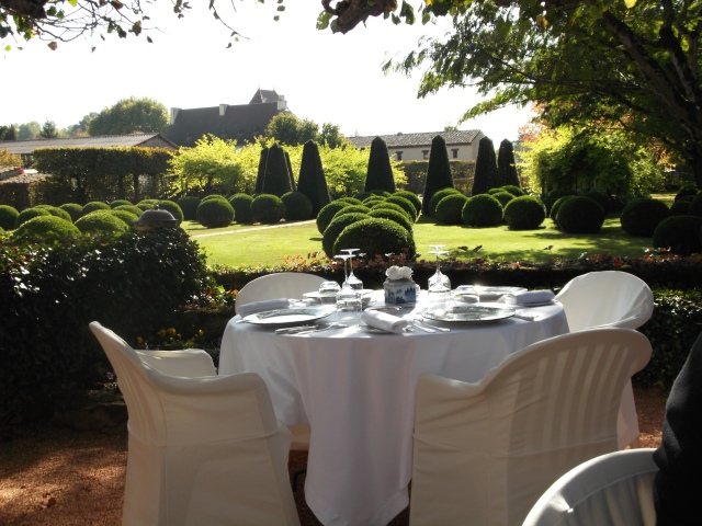Looking out over the lawn at Le Vieux Logis.
