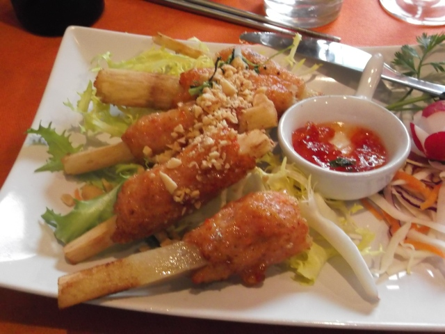 The shrimp on sugar cane sticks were good, but a bit gummy.