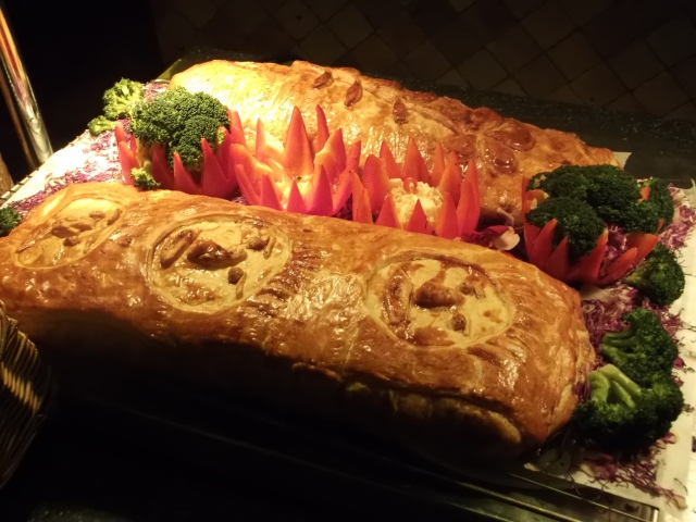 Beef Wellington on the dinner buffet table.