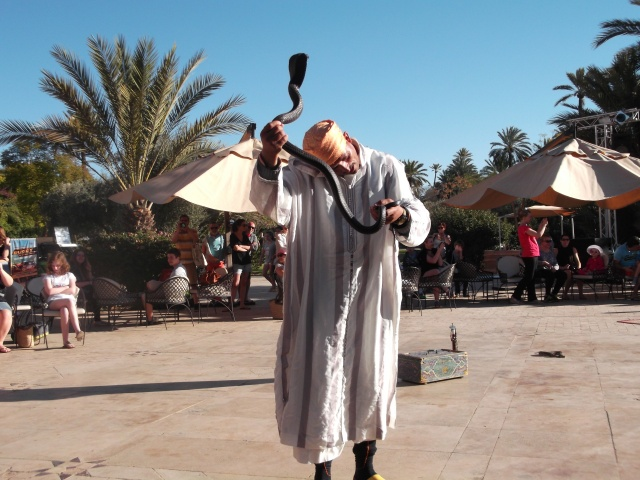 This snake charmer was performing -- for the benefit of kids -- at our resort.