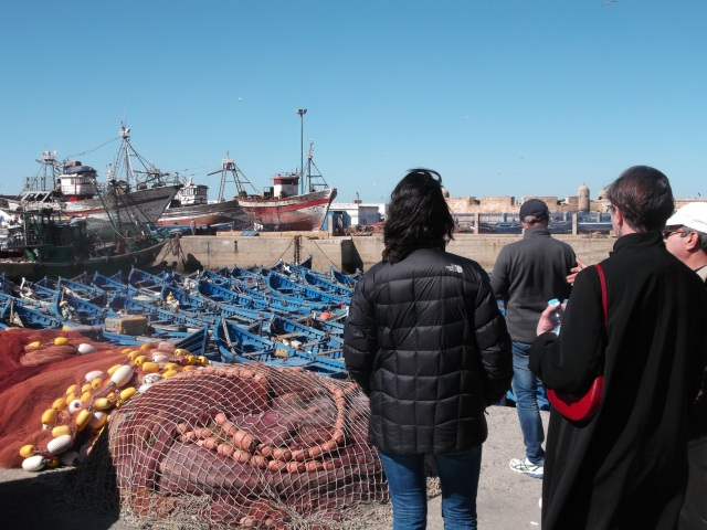 Checking out the fishing boats in the harbour.