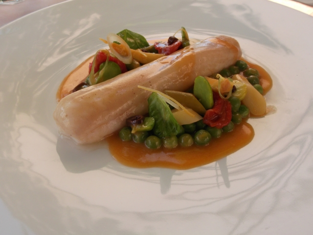 Delicate sole on a bed of crunchy vegetables.