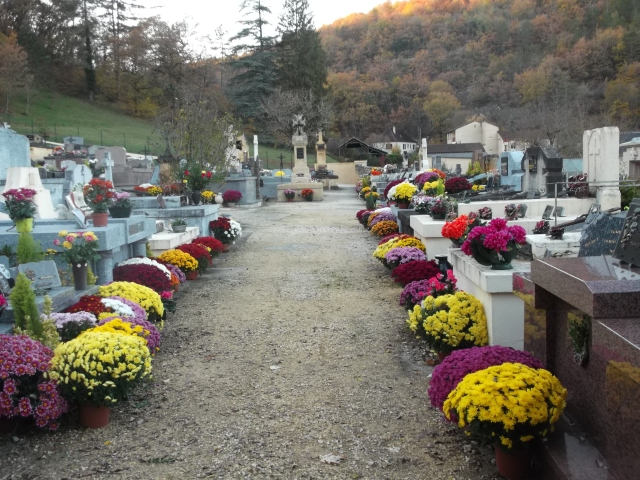 Pots and pots of the flowers decorate the tombs.