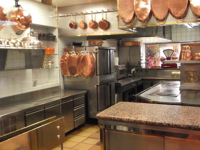 The spotless kitchen at l'Auberge du Pont de Collonges.