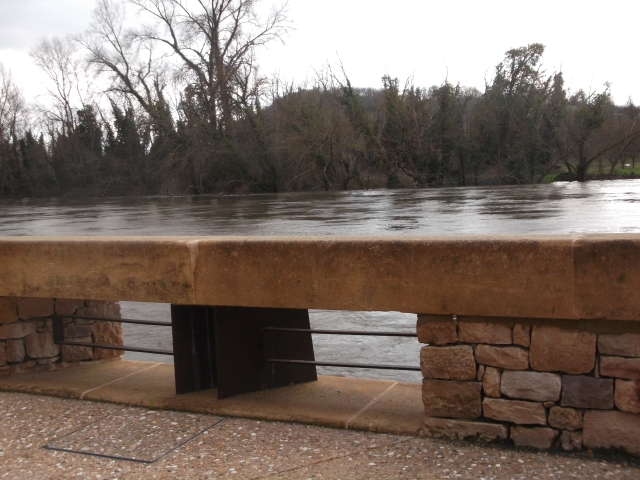 The Dordogne is so high it's almost at the walkway level.