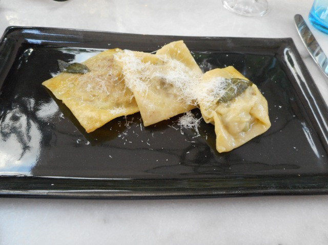 A nice serving of lamb-stuffed ravioli.
