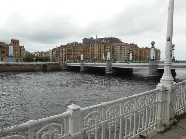 A look at the buildings of San Sebastian, under grey skies.