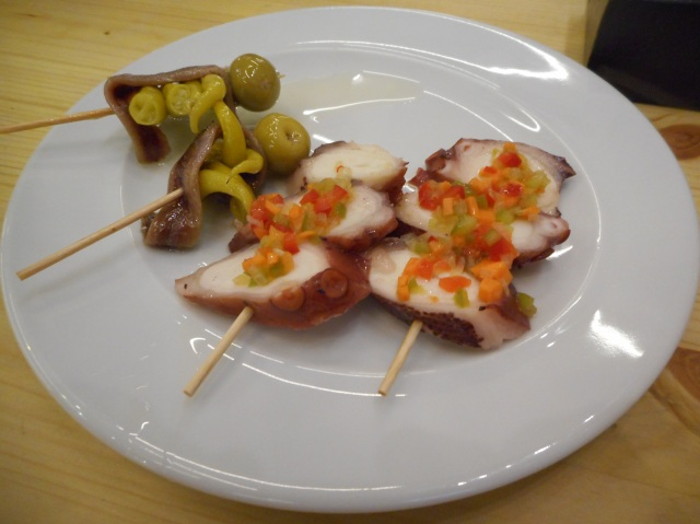 Seafood figures prominently in pintxos offerings.