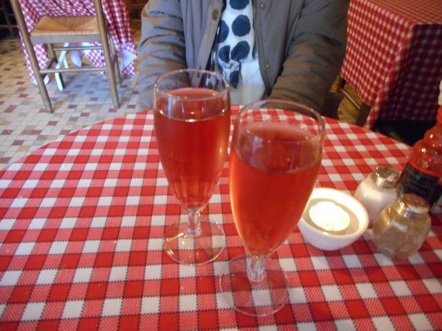 A glass of kir to begin our lunch.