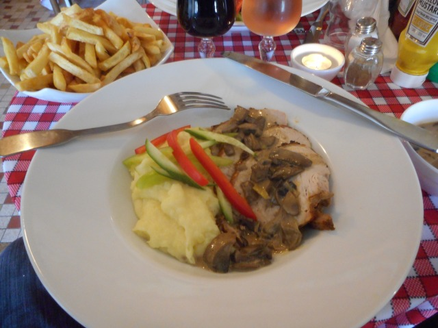 Moist and tender pork with very good mashed potatoes.
