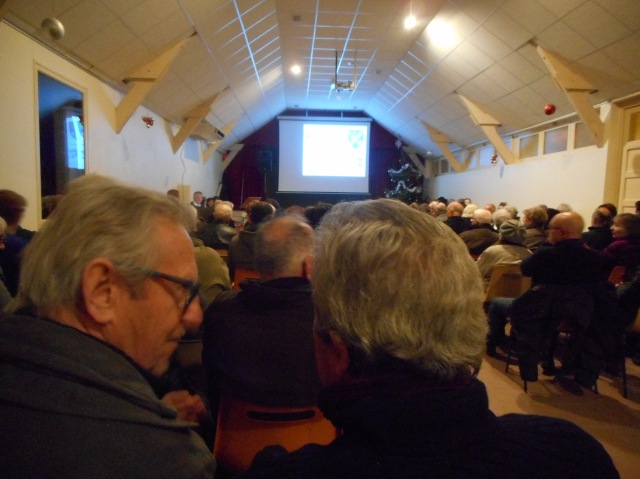 Last night at the village meeting-and-events hall.