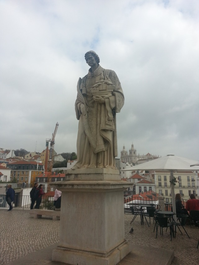 A statue near Lisbon's old cathedral.
